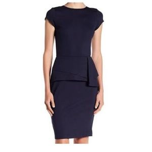 NWOT dark navy cap sleeve 3/4 length dress